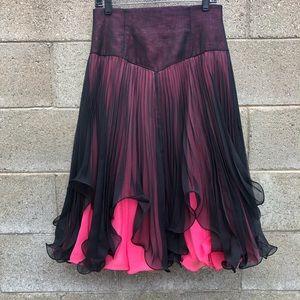 Skirt Flowy Asymmetrical Black  Pink Green SZ4 W30